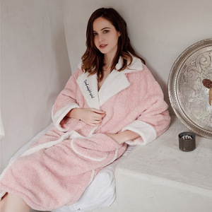 Image 4 - 2019 Cardigan Winter Pajamas Womens Warm Bathrobe Thick Warm Coral Fleece Embroidered Robe Loose Home Clothes Sleepwear