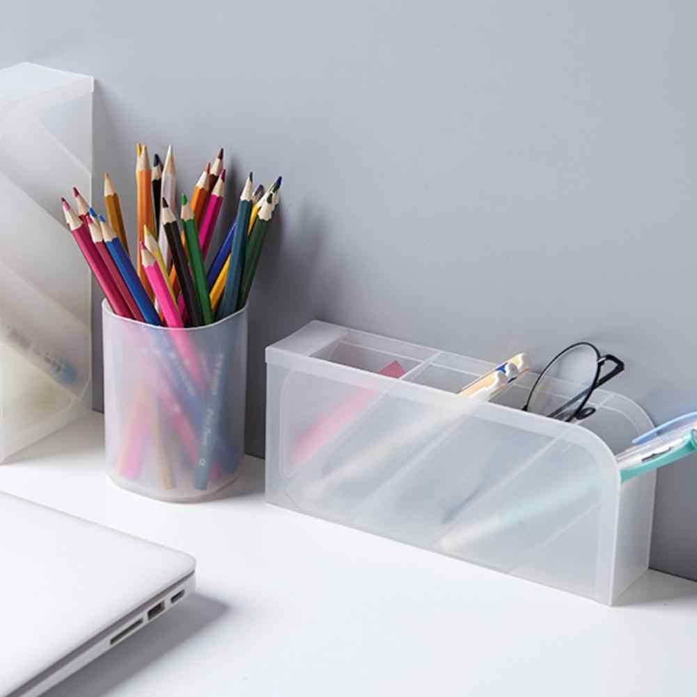 جديد متعدد الوظائف 4 شبكة حامل قلم مكتبي مكتب أسود صندوق تخزين مكتب قلم رصاص واضح مدرسة المنظم البلاستيك الأبيض D4J9