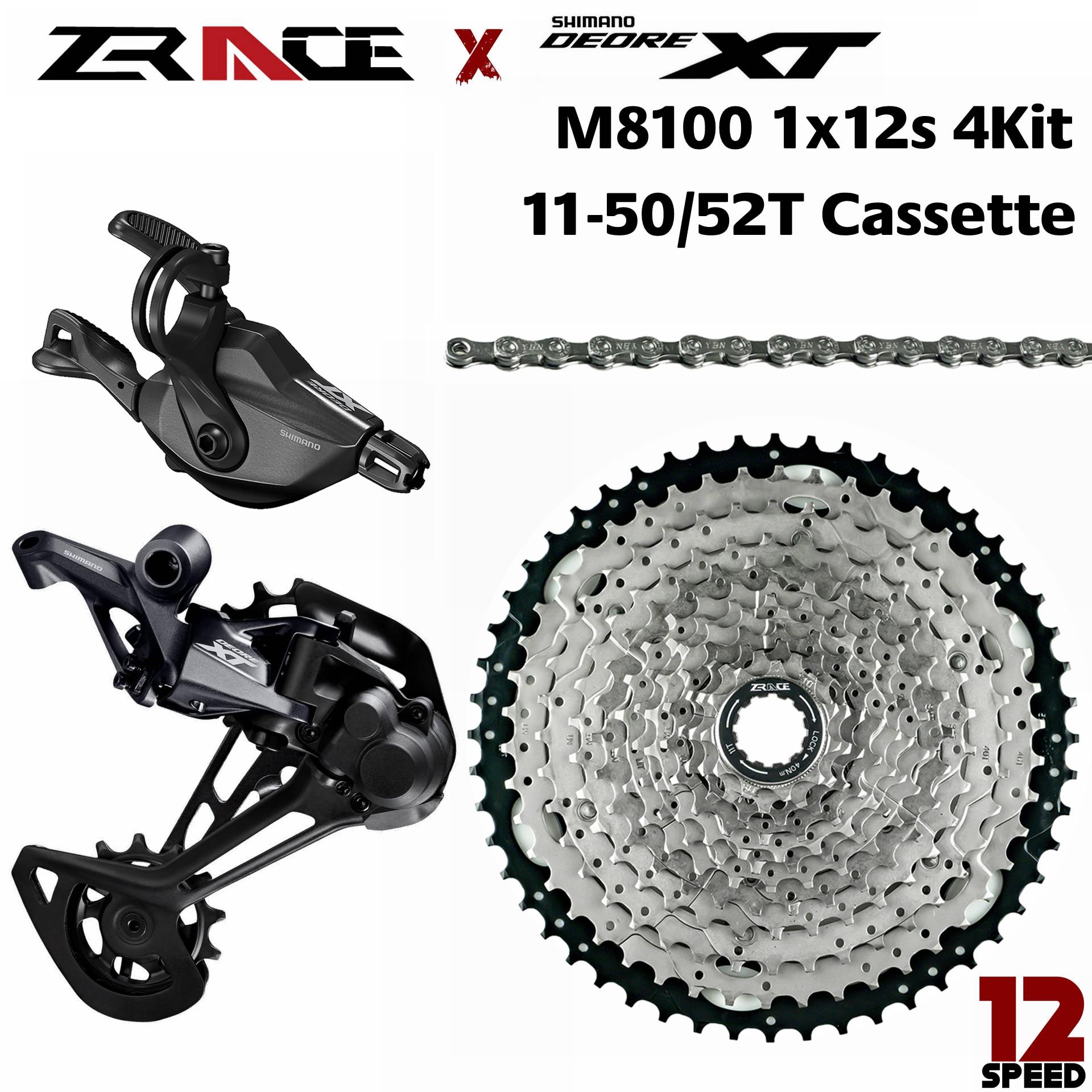 Deore XT M8100, SL-M8100-R + RD-M8100-SGS + ZRACE Cassette + ZRACE Chains - 1x12-speed,  4kit Groupset