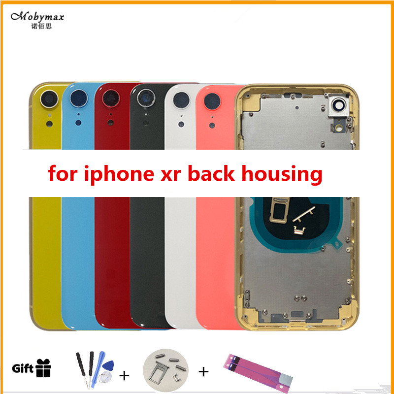 Back-Cover Replacement Rear-Housing iPhone Yellow Door-Glass Middle-Frame for XR