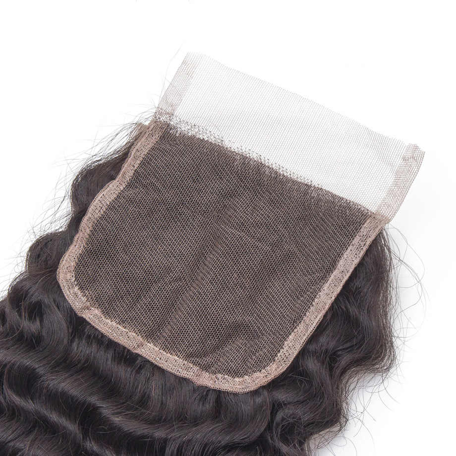 Бразильский закрытие шнурка человеческих волос глубокая волна 4x4 закрытия шнурка с предварительно сорвал волос младенца отбеленные узел Бесплатная доставка
