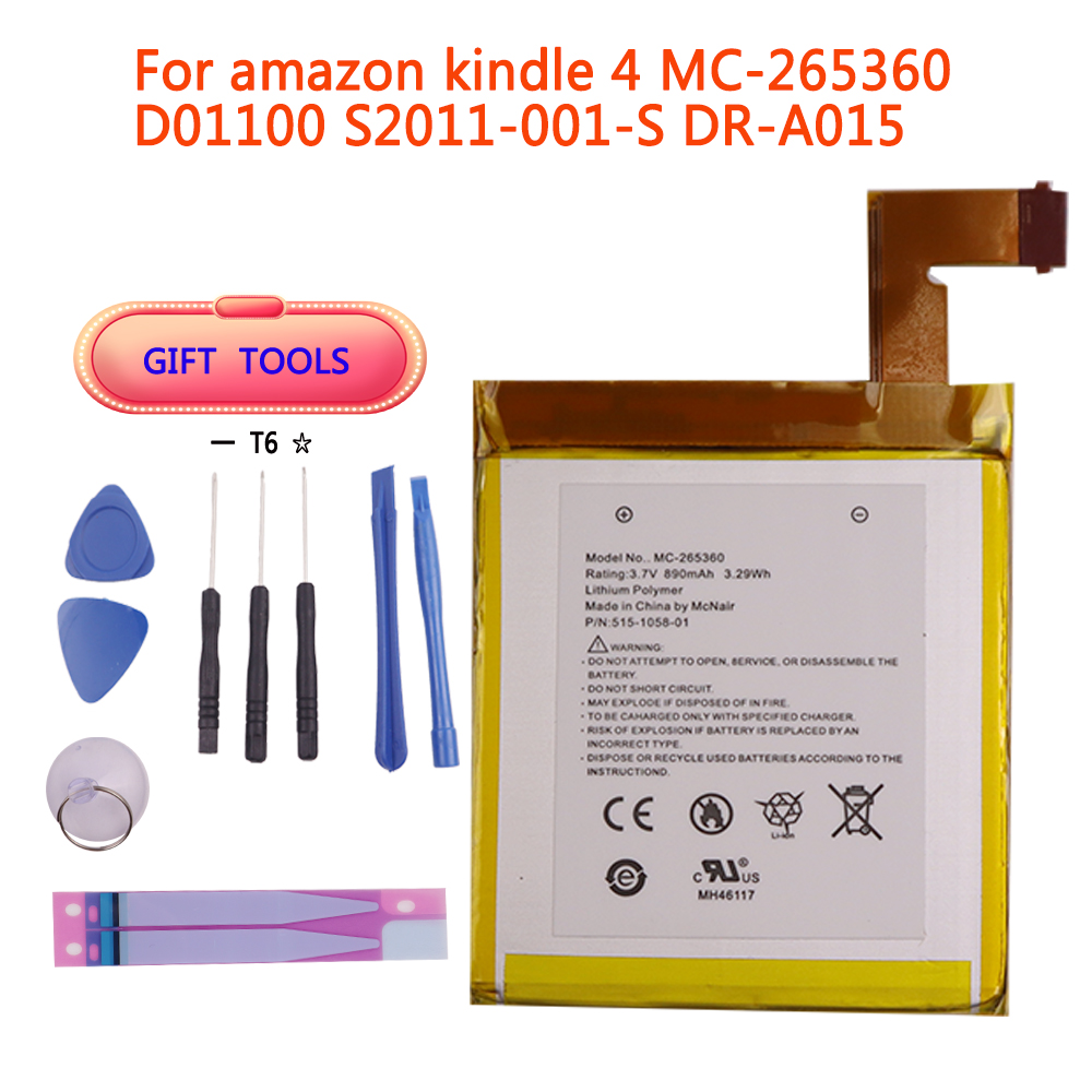 ZQTMAX 890mAh Battery For Amazon Kindle 4 5 6 D01100 515-1058-01 MC-265360 S2011-001-S Battery With Tools