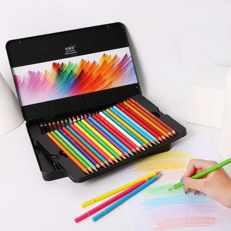 48/72 цветные карандаши Профессиональный железный ящик масляные цветные карандаши художественная живопись эскизы цветные деревянные каранд...