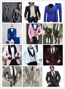 Image 5 - Latest Coat Pant Designs White+Black Men Suit Slim Fit 3 Piece Tuxedo Groom Wedding Suits Custom Prom Blazer (Jacket+Pants+Vest)