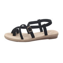 SAGACE Summer Beach Sandals Women Shoes Cross Straps Clip PU Leather Flat Bottom Sandals Casual Flat with Ladies Shoes cheap Flock Basic Rubber Low (1cm-3cm) Slip-On Fits true to size take your normal size Fashion Solid shoes woman shoes woman sandals