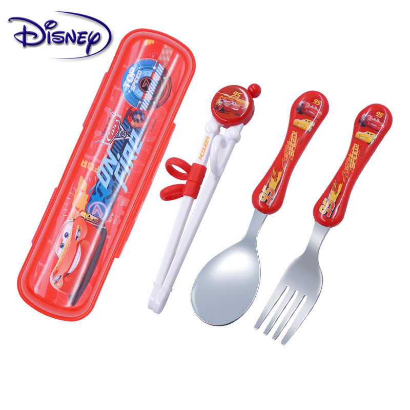 Disney Frozen Spoon Chopsticks Set Cartoon Children Practice Chopsticks Spoon Baby Auxiliary Cartoon Learning Chopsticks