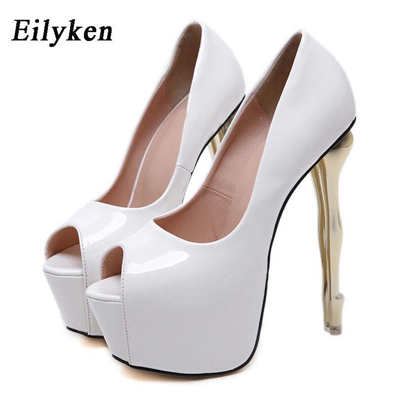 Eilyken Women Platform Pumps Spring Fashion PU Patent Leather Peep Toe Super High Heel 16CM Thin Heels Nightclub Wedding Shoe