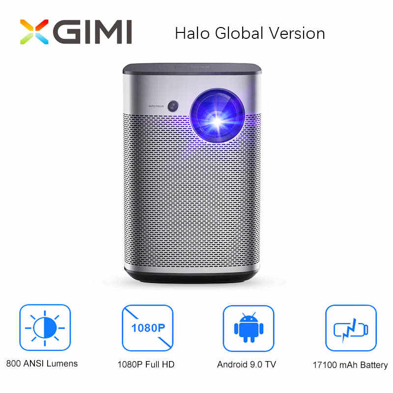 XGIMI Halo Full HD DLP Proyektor Mini Android 9.0 Wifi Portable Dukungan 4K TV Video 3D Home Cinema baterai Google OS Beamer