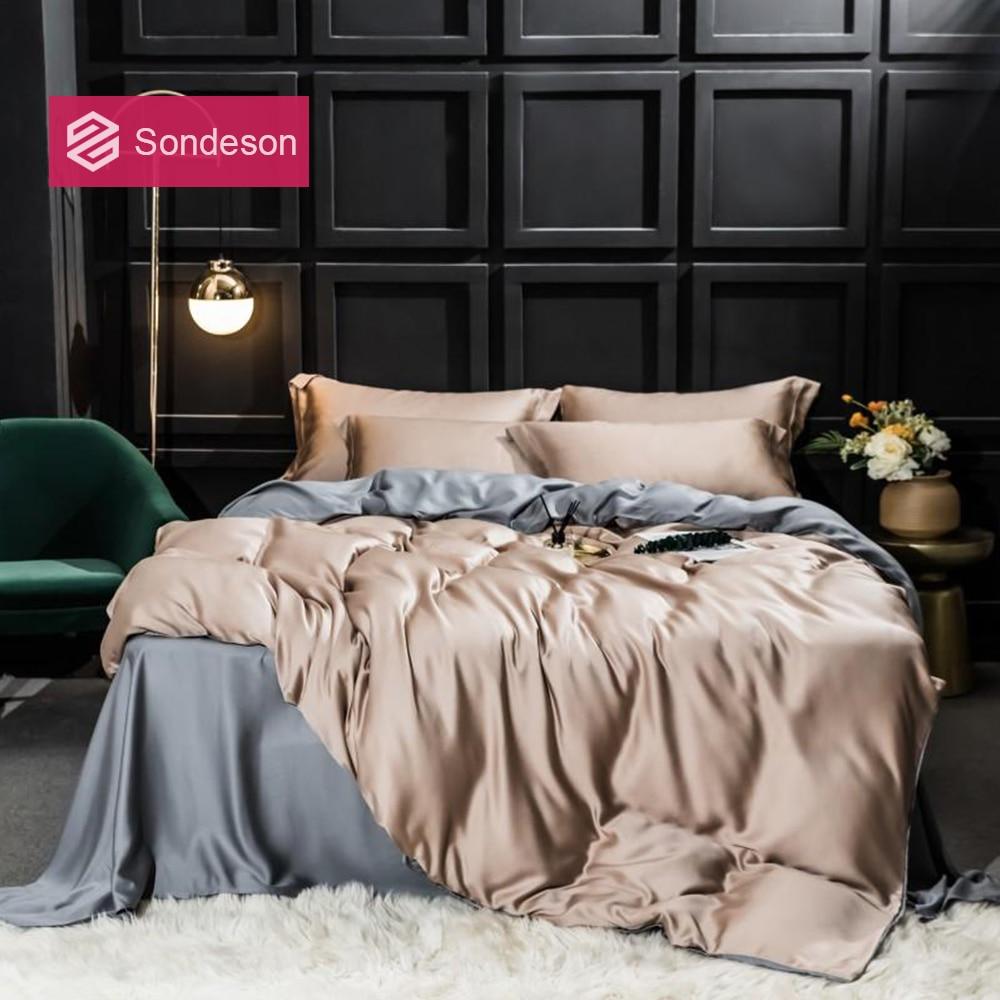 Sondeson Luxury 100% Silk Beauty Bedding Set 25 Momme Silk Duvet Cover Flat Sheet Bed Linen Pillowcase For Adult Bed Set 4PCS