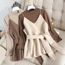 Mooirue Autumn Turtleneck Slim T Shirts +  V-neck Sling With Sashes Women Set Pullovers Vintage Streetwear Korean Style Tops