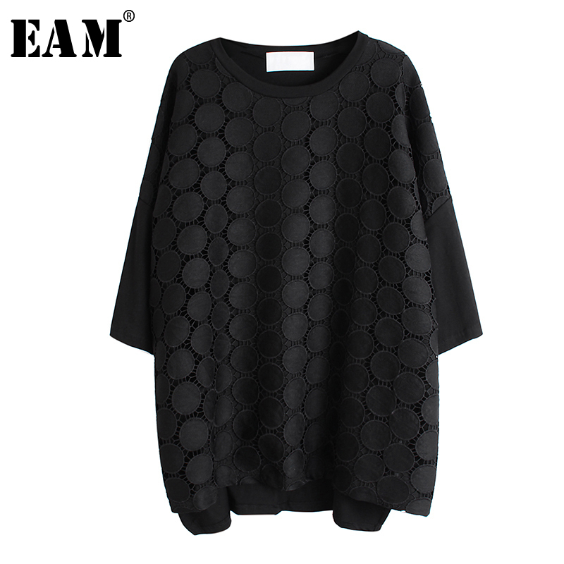 [EAM] Women Black Lace Split Big Size T-shirt New Round Neck Three-quarter Sleeve  Fashion Tide  Spring Autumn 2020 1R519