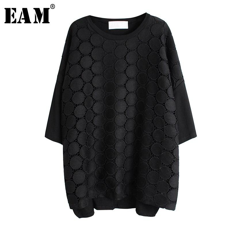 [EAM] Women Black Lace Split Big Size T-shirt New Round Neck Three-quarter Sleeve  Fashion Tide  Spring Autumn 2020 1R519
