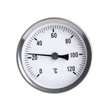 63mm Dial Horizontal Thermometer Aluminum Temperature Gauge Meter Liquid Water