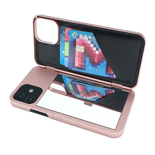 W7ETBEN Card Slot Wallet Make Up Mirror Back Cover Flip Case for iPhone 12 Mini 12 SE2 XS Max XR X 6 6S 7 8 Plus 11 12 Pro Max 2