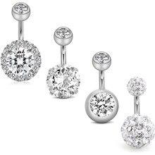 3 pcs 6 pçs anéis de botão da barriga 6mm aço inoxidável 14g cz umbigo anéis barbells studs feminino meninas corpo piercing jóias
