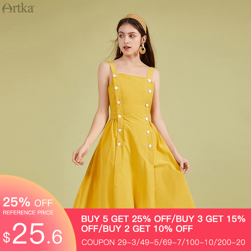 ARTKA 2020 Spring Summer New Women Dress Elegant Vintage A-line Strap Dresses Double Breasted Design Sleeveless Dress LA20703C