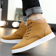 Warm Plush Snow Boots Men Shoes Leather PU Lace Up Comfy Ankle For Solid Rubber Winter Cheap