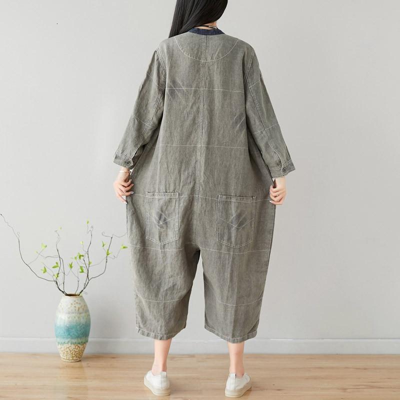 Summer 2020 O-Neck Calf-Length Pants Wide Leg Jumpsuit Women Japan Style Cotton Linen Pockets Vintage Loose Overalls Female