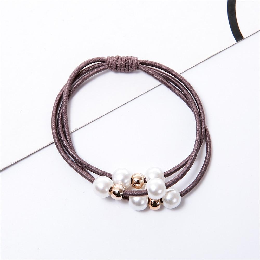 Модные жемчужные эластичные резинки для волос, многослойное кольцо для волос, держатель для конского хвоста, повязка на голову, Резиновая лента для женщин и девушек, аксессуары для волос - Цвет: 8