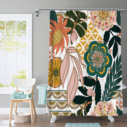 Bestselling 3D Flower and Animal Print Nordic Style Shower Curtain Set Hook Natural Landscape Home Decoration Bathroom Curtains