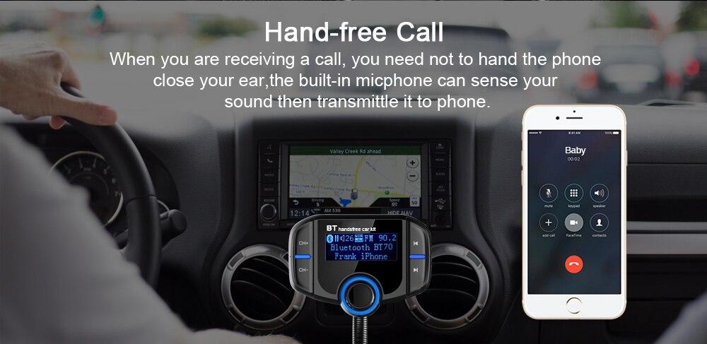 Bluetooth FM Autoladeger/ät LeeMon Car Kit Freisprecheinrichtung Wireless Bluetooth FM Transmitter LCD MP3 Player USB Ladeger/ät