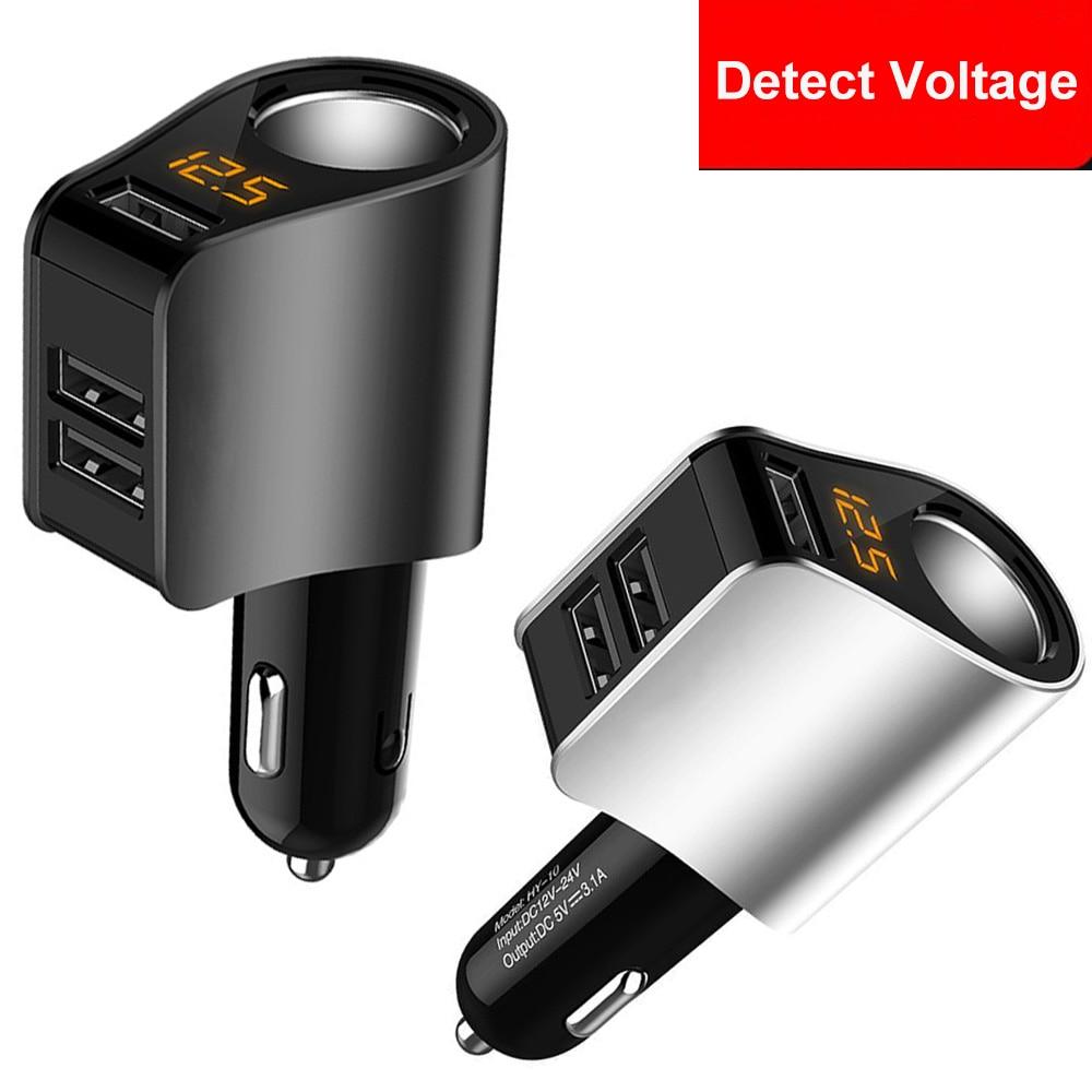 Cigarette Lighter Socket Splitter 3 USB Car Charger 12V-24V 80W Power Adapter Digital LED Display Battery Monitor For Car Truck