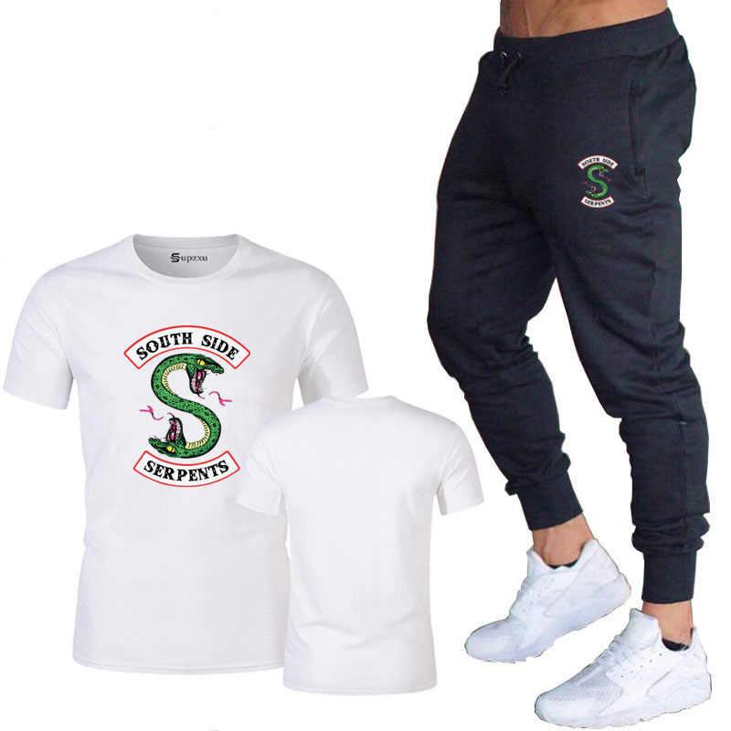ฤดูร้อน Riverdale ผู้ชายกางเกง Casual กางเกงเสื้อยืดชุดกางเกงกีฬา SouthSide Snake Men's Gym กล้ามเนื้อออกกำลังกายยืดกางเกง