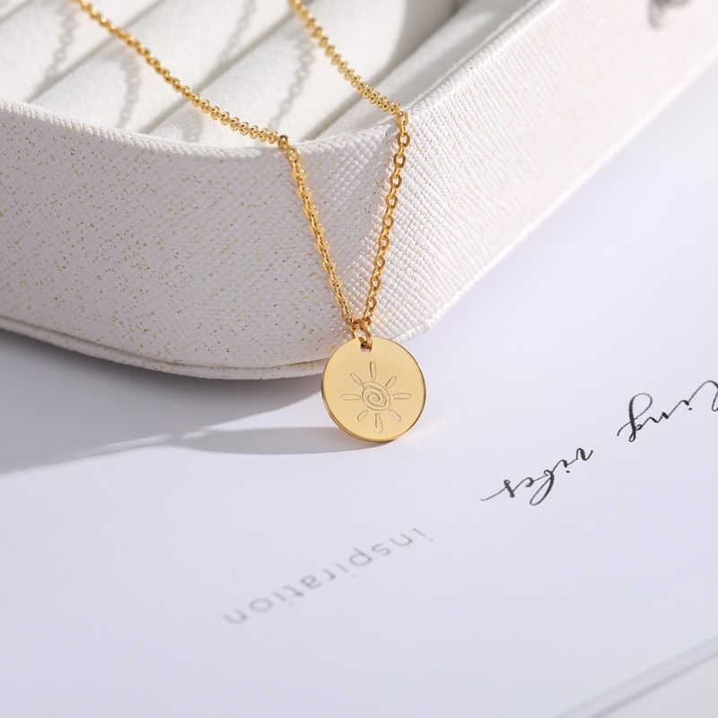 Minimalism Rose Gold Disc Charms Sun Necklace Women Fashion Jewelry Collier Femme Stainless Steel Friendship Necklaces Bijoux