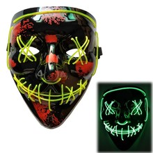 Glow In The Dark EL Mask Halloween Party Masque Masquerade Masks Neon Light Horror Glowing Cosplay Costume Props