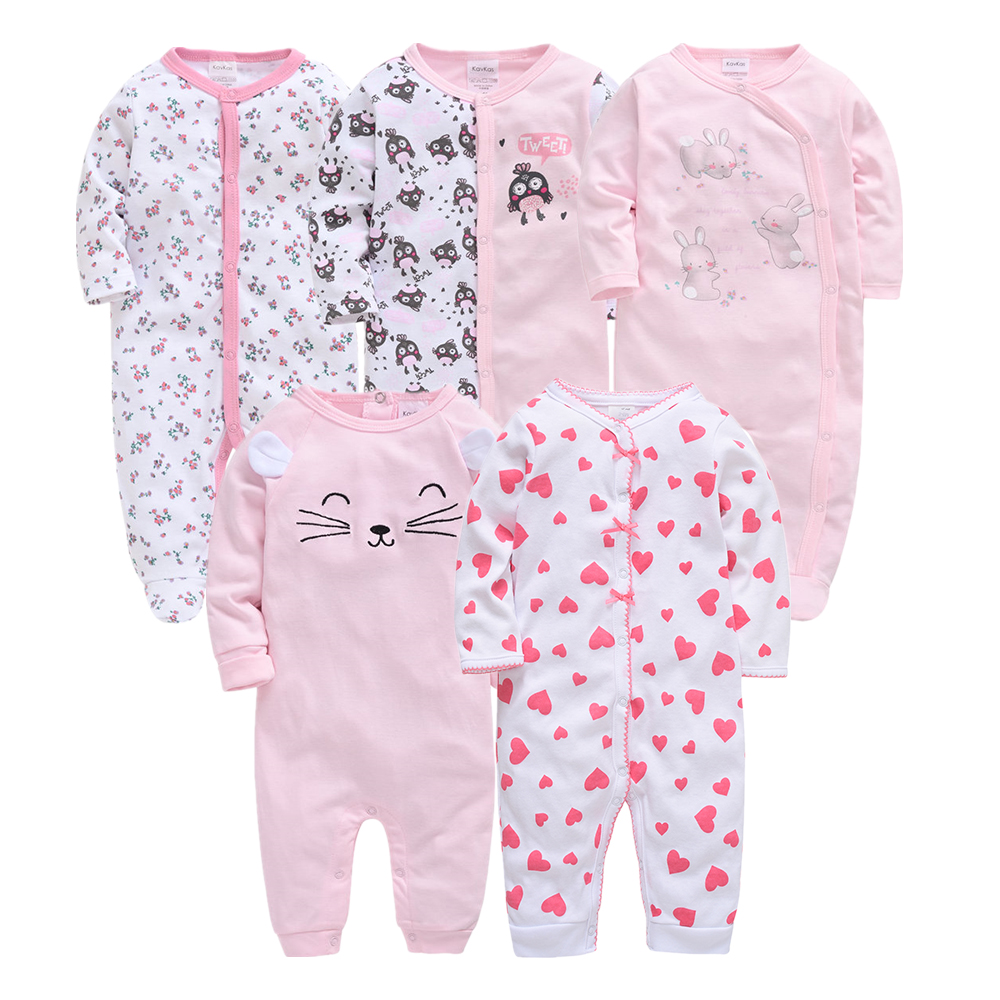 2020 Summer New Style Long Sleeved Girls Baby Romper Cotton 3&5Pcs/sets Newborn Body Suit Baby Pajama Boys Animal Rabbit Rompers