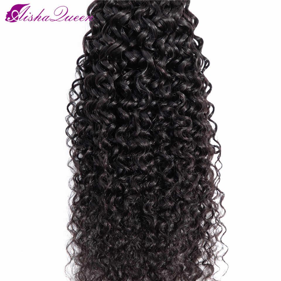 """Aisha rainha kinky encaracolado onda 8-30 """"pacotes com frontal peruano feixes de cabelo com fechamento relação média não remy cabelo humano"""