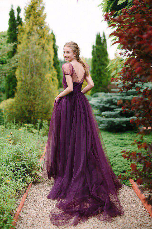 Pregnant Photography Short Sleeve Vintage Casamento Party Prom Gowns 2018 Sexy Backless Purple Tulle Long Bridesmaid Dresses
