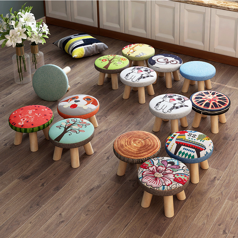 Baby Chair Fashion Cartoon Creative Small Bench Home Solid Wood Small Bench Round Stool Cute Child Sofa Stool LB1244