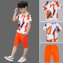 Детская одежда для мальчиков летняя из хлопка подростков комплект