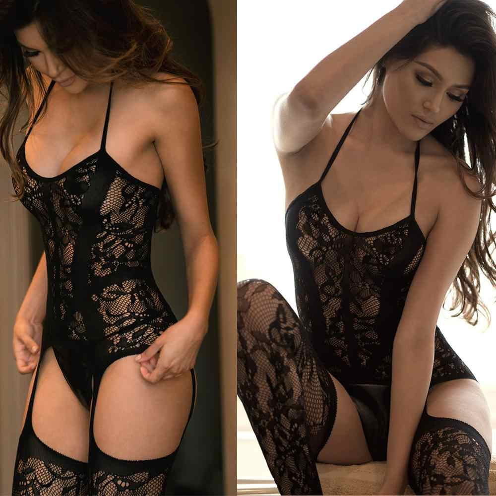2019 New sexy underwear sex product open crotch lingerie garters Fishnet Nightgown  crotchless bodystocking