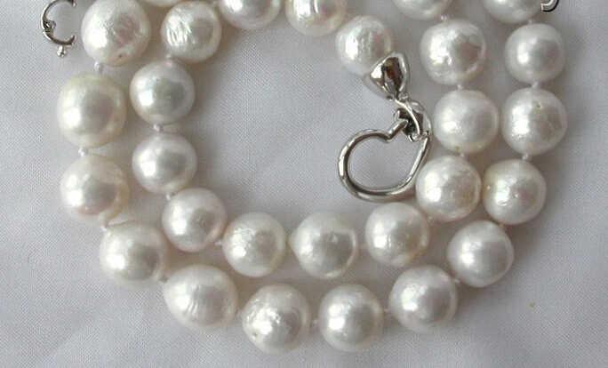 Jew3187 stunning große runde weiß Edison keshi reborn süßwasser perle halskette AAA