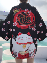 2021New White Black Lucky Cat Loose Summer Beach Cardigan Women Harajuku Japanese Kimono Style Tops Blouse Clothing