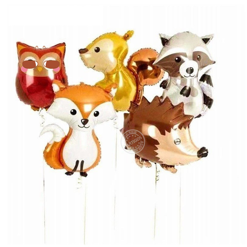 1pcs Large Jungle Hedgehog Fox Raccoon Balloons Cartoon Animal foil  Balloon Birthday Safari Party Decor kids toys 1