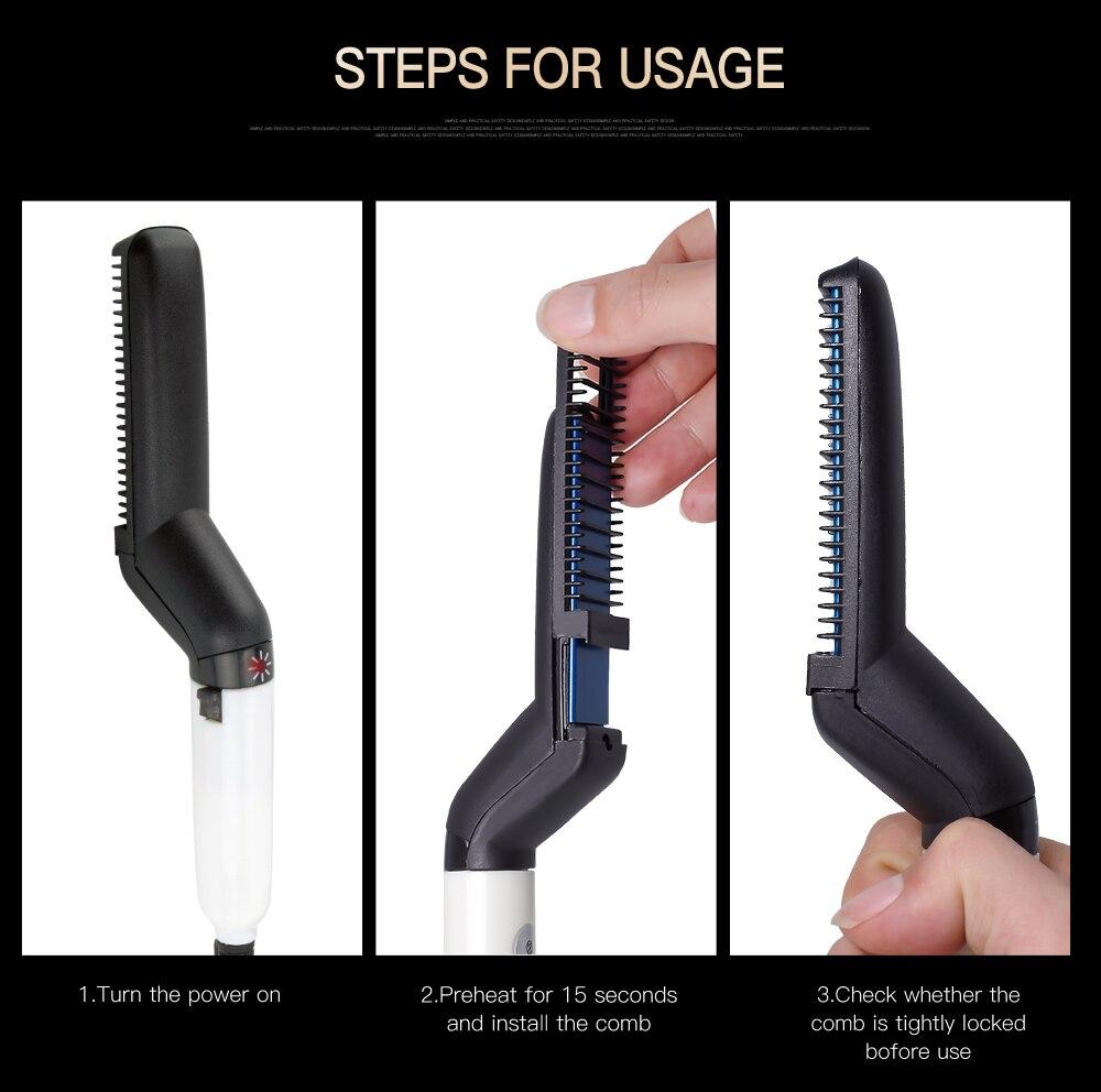 Multifunctional Hair Comb Brush Beard Straightener Hair Straighten Electric Beard Straightening Comb Quick Hair Styler For Men 5