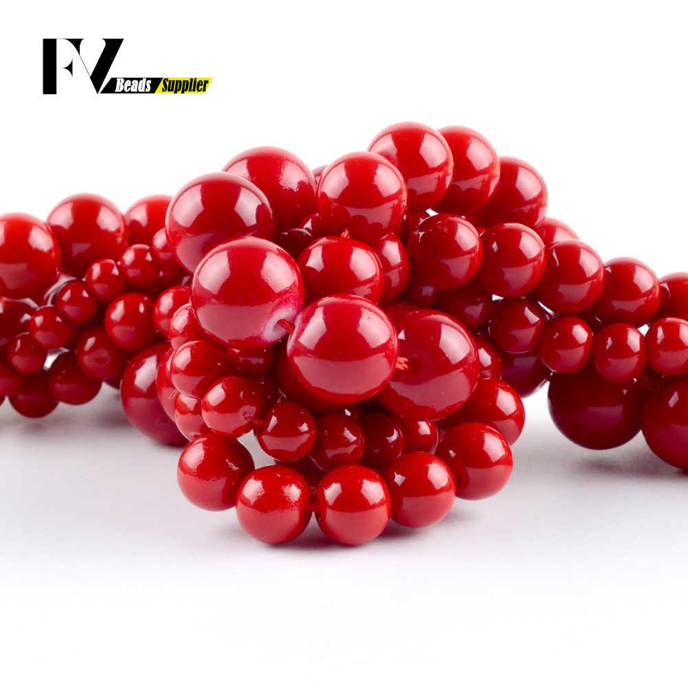 """Naturalny czerwony kamień koralowy okrągły luźne koraliki 4/6/8/10/12mm Spacer koraliki do tworzenia biżuterii zestaw do robienia bransoletek naszyjnik akcesoria 15"""""""