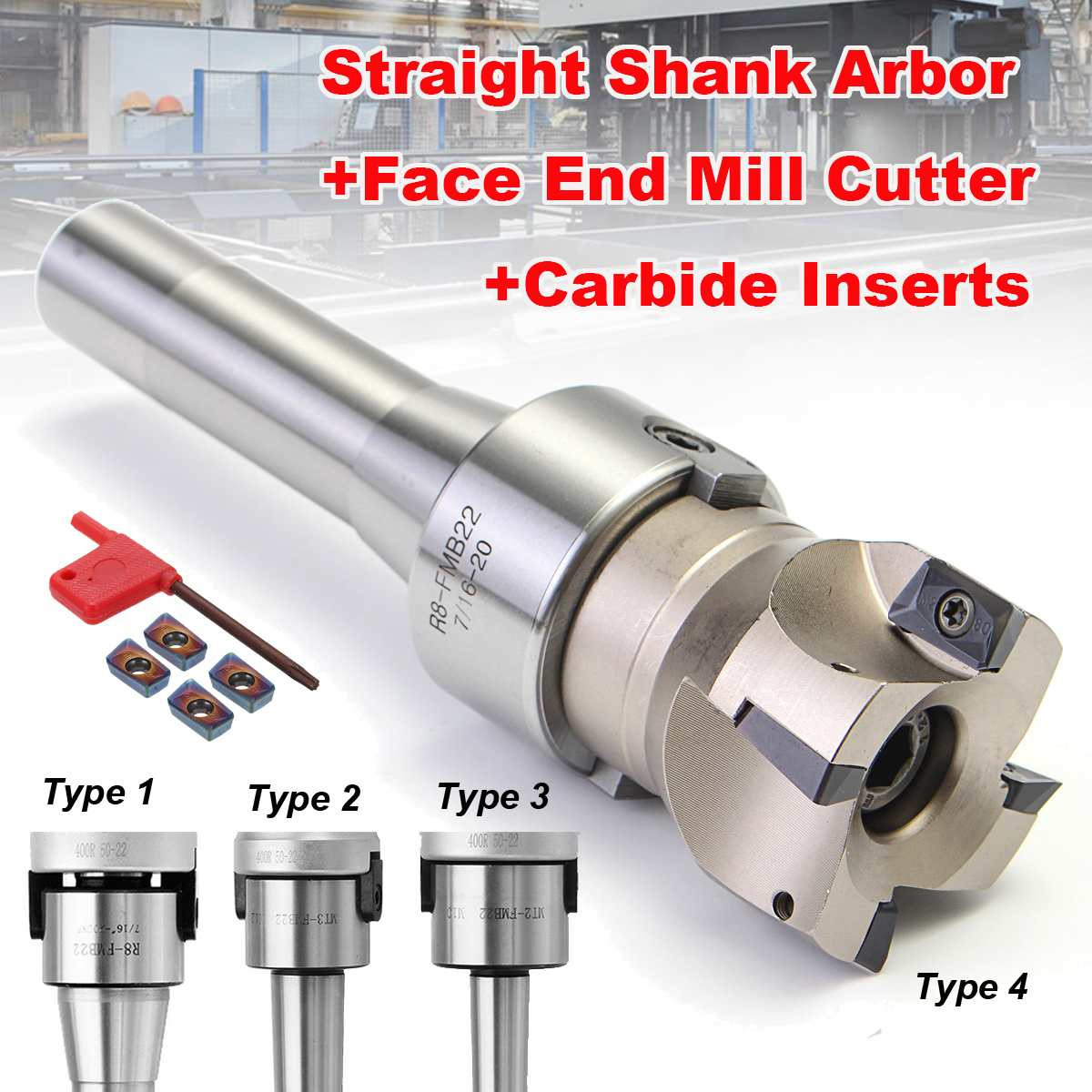90 Degree R8 FMB22/MT2/MT3 Straight Shank Arbor+Face End Mill Cutter+4pcs APMT1604 Carbide Inserts/Blue-Nano Insert Turning Tool