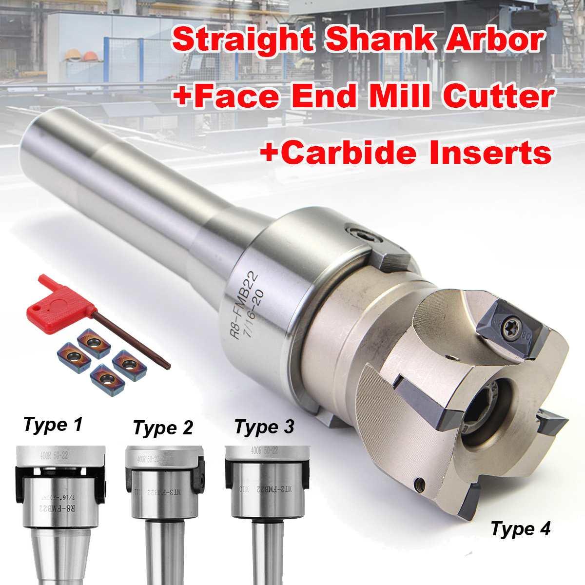 90 Degree R8 FMB22/MT2/MT3 Straight Shank Arbor+Face End Mill Cutter+4pcs APMT1604 Carbide Inserts/Blue-Nano Insert Turning Tool