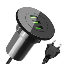 YASOKO 3 USB Desktop Charger 5V 3.1A Office Home Desk Hole Charge Station Universal Mobile Phone Charger for IPhone Oppo EU Plug
