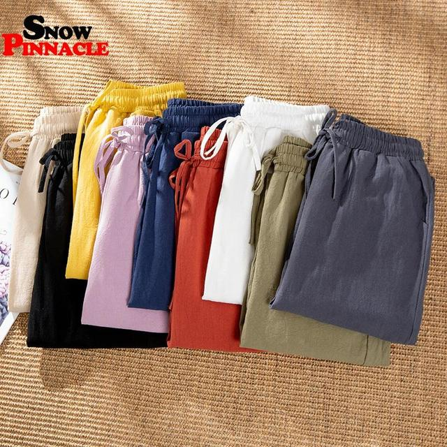 Womens Spring Summer Pants Cotton Linen Solid Elastic waist Harem Trousers Soft thin Female ladys trousers S-XXL 3