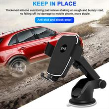 Quick Charge Car Mount QI Wireless Charger Phone Bracket Car Dashboard Adjustable Phone Holder Suction Cup for iPhone 11 Pro XS car phone holder bracket with suction cup free stretch windshield dashboard holder in car 360 adjustable auto for iphone xiaomi