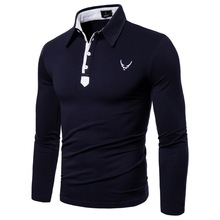 New Autumn T-shirt Mens Lapel Long-sleeved Embroidered Casual Fashion