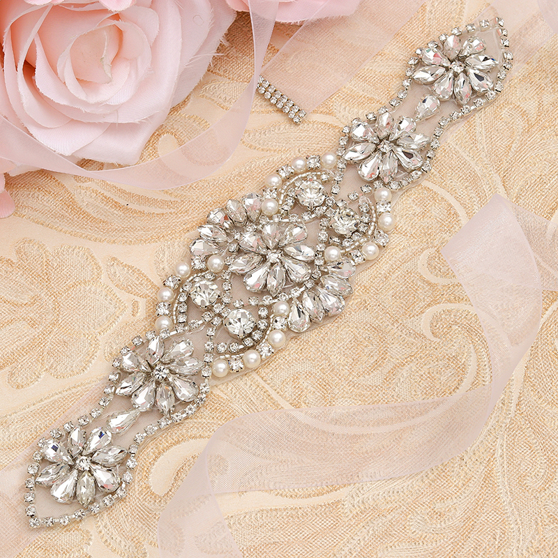 Missrdress Sash Wedding-Belt Crystal-Pearls-Ribbons Rhinestones Bridesmaids Silver