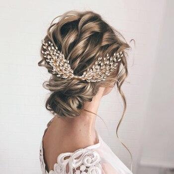 TOPQUEEN HP276-G Crystal Bridal Hair Accessories for Woman Bridal Headpiece Gold Bridal Tiara Star Bridal Hair Accessories