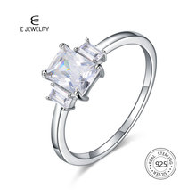 E Jewelry Sterling Silver 925 Ring Square AAA Zircon Engagement Rings for Women Gemstone Fashion Anniversary Gift