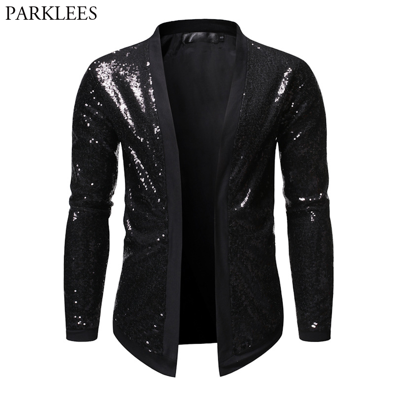 Black Sequin Glitter Blazer Jacket Men Stage Prom Mens Cardign Blazers Nightclub Party Performance Clothes For Singers Dancers